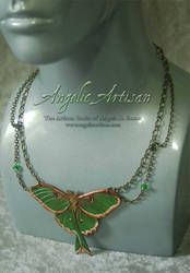 Luna Moth in Chains Necklace v2 by Angelic-Artisan