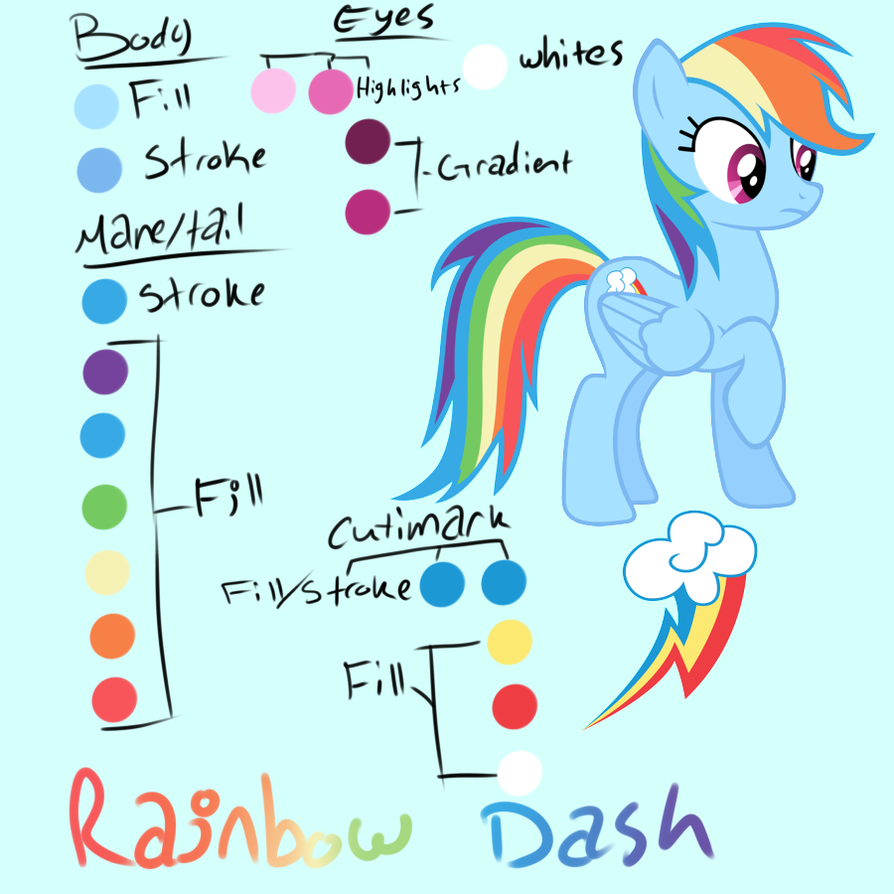 Rainbow Dash Color Guide by CosmicBrownie on DeviantArt
