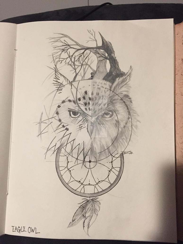 Eagle Owl Tattoo Sketch By Langstroffart On Deviantart