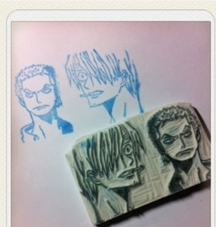 zoro and sanji one piece rubber stamp by ALLCP4EVER