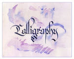 calligraphy in blue and purple