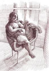 Studies fat woman