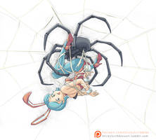 Bunny Girl stuck in Web 1 by StickyScribbles