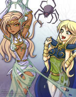 Pirotess and Deedlit, Record of Lodoss War by StickyScribbles