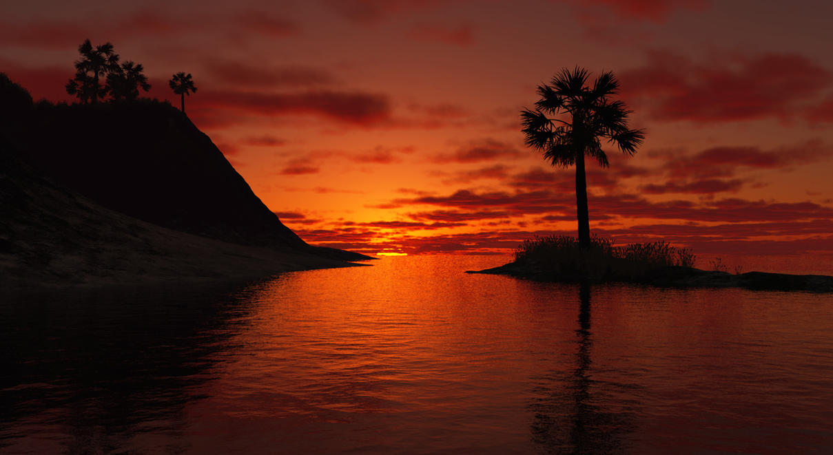 Terragen- Setting Sun by TylerCreatesWorlds