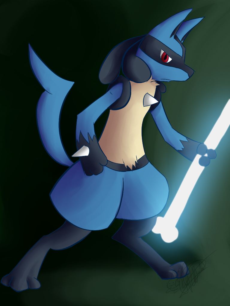Lucario and Bone Rush by mudkip-chan
