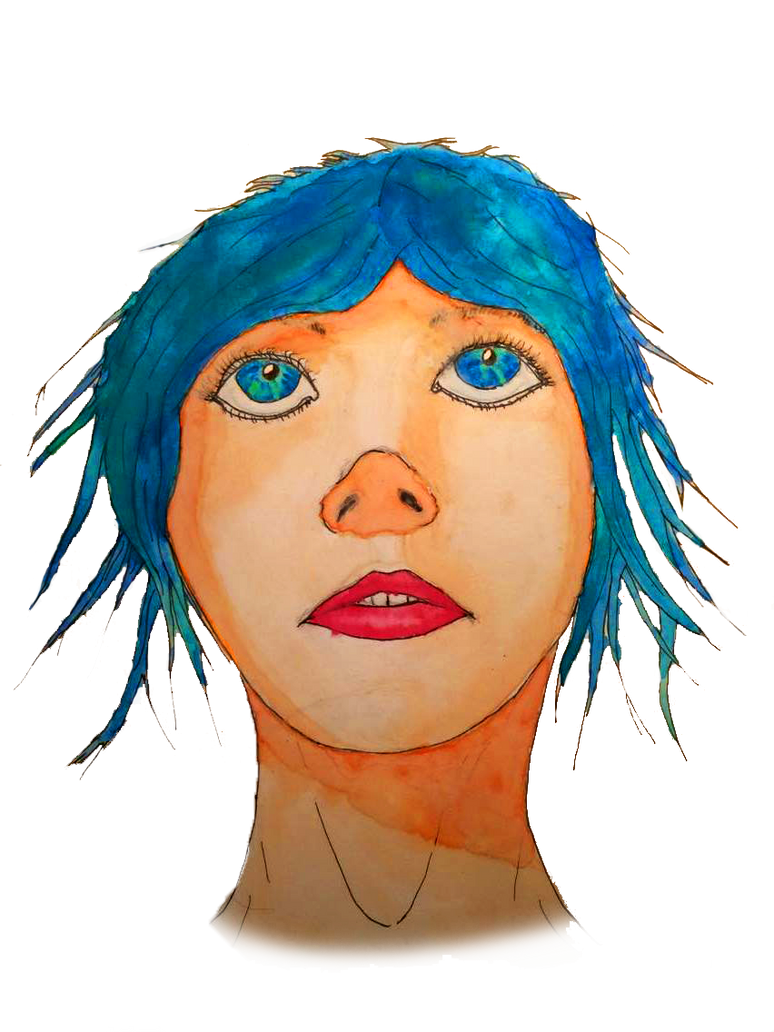 Blue Hair Watercolour Girl by Elso12