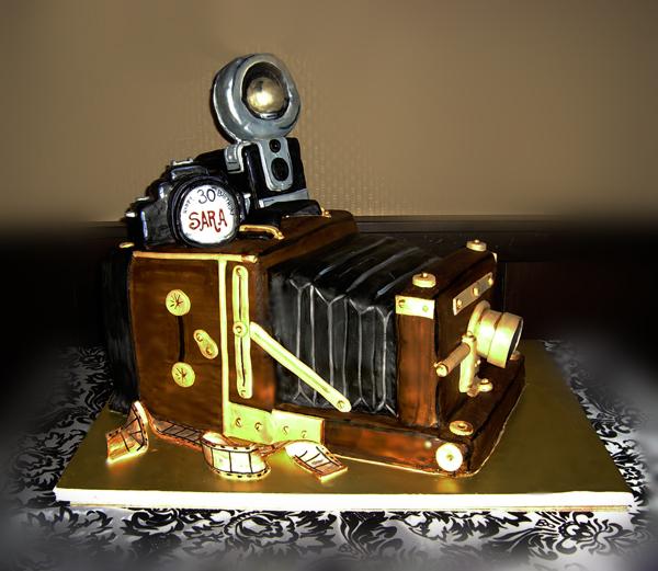 Vintage Camera Cake by TiffsWickedCakes