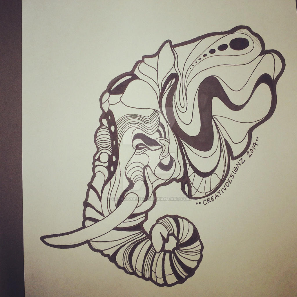 ELEPHANT ABSTRACT DRAWING