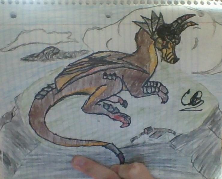 Dragon on a hilltop by Liquidvenom1750