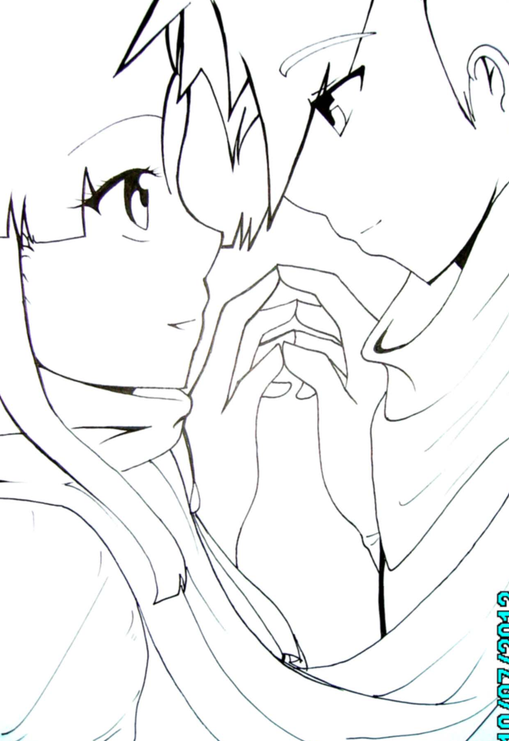 anime couple coloring pages kissing - photo#36