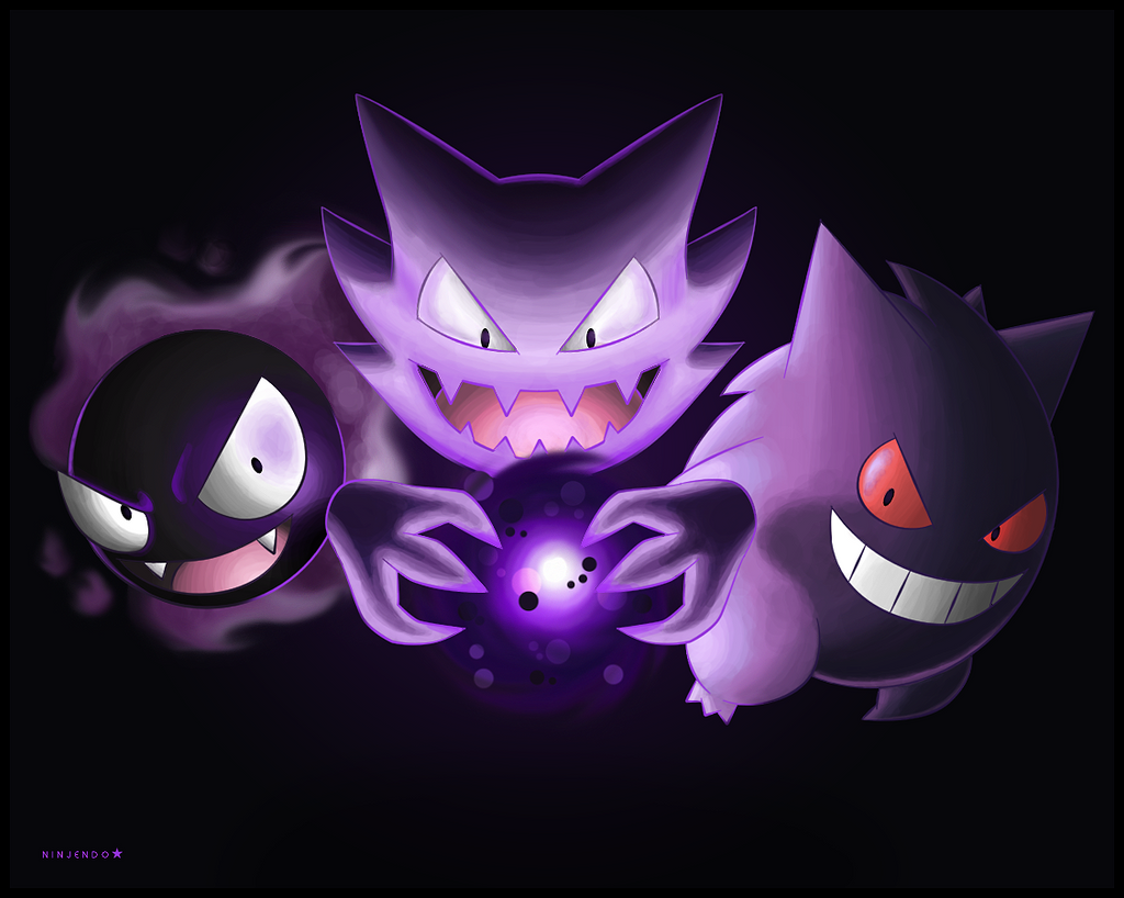 Gastly, Haunter and Gengar by Ninjendo on DeviantArt