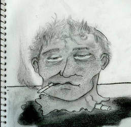 severed head smoking cigarette by TheJellyIsLoose