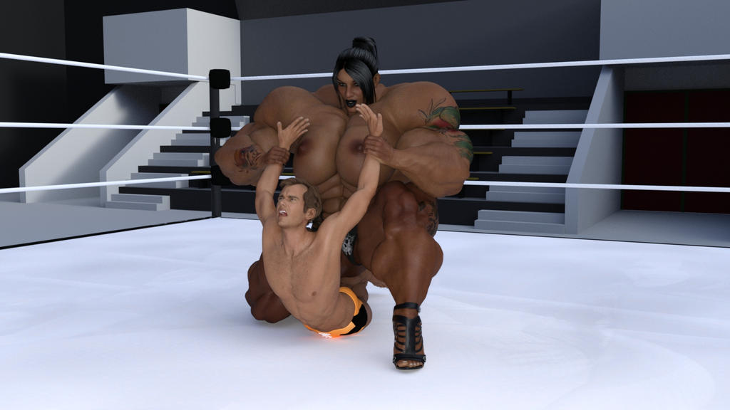 Unequal mixed wrestling match by aldebaran086
