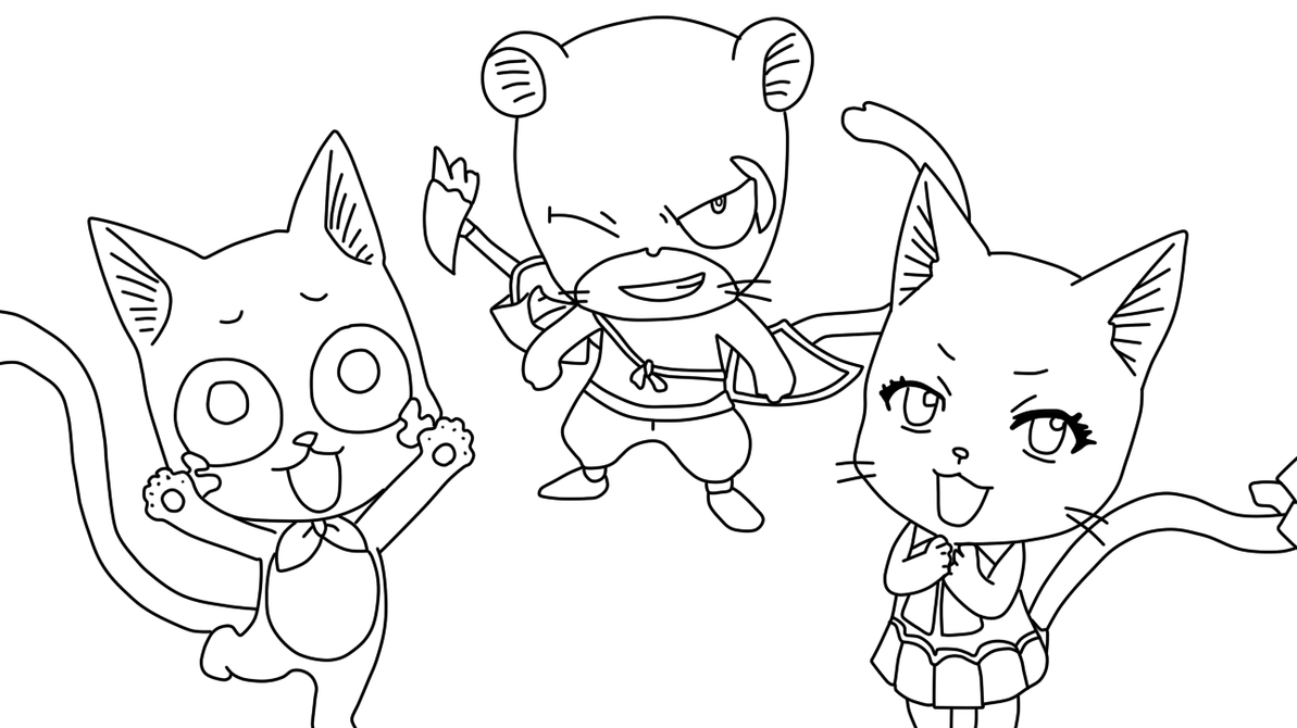 fairy tail coloring pages anime - happy carla pantherlily coloring page by