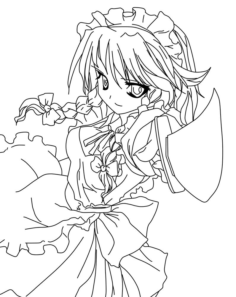 coloring pages manga - sakuya izayoi coloring page by doremefasoladedo on deviantart