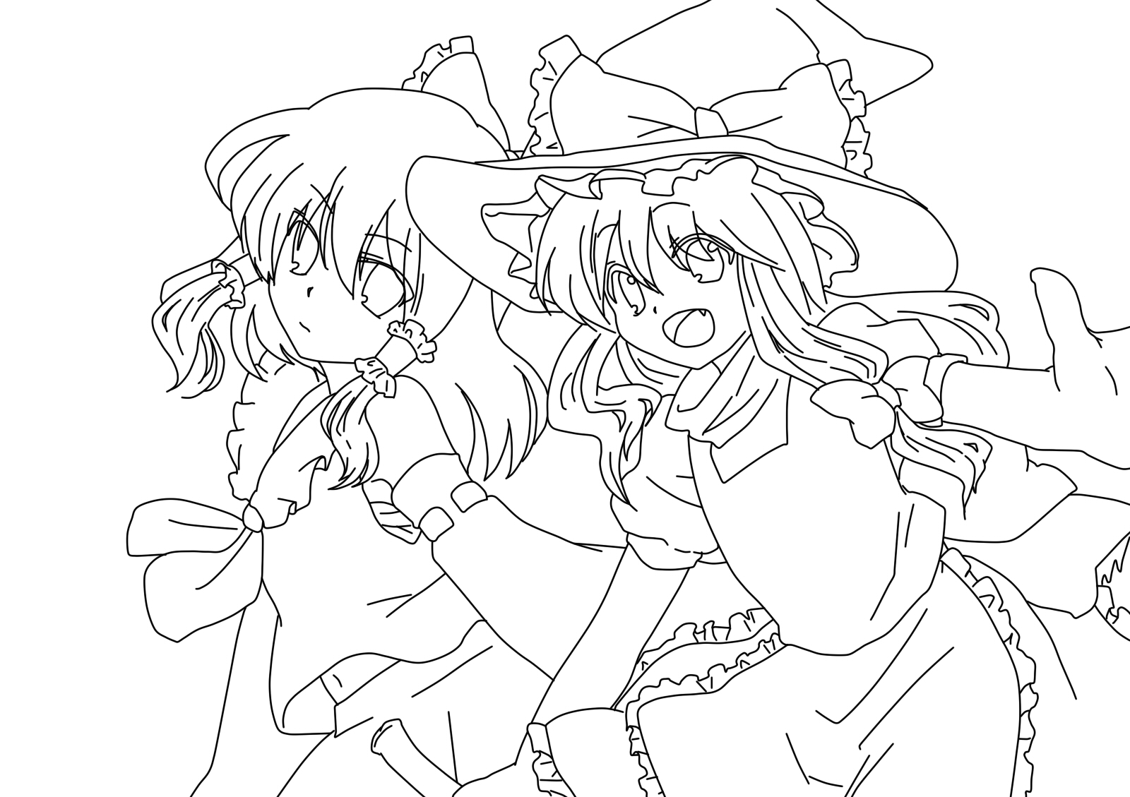 reimu hakurei and marisa kirisame coloring page by