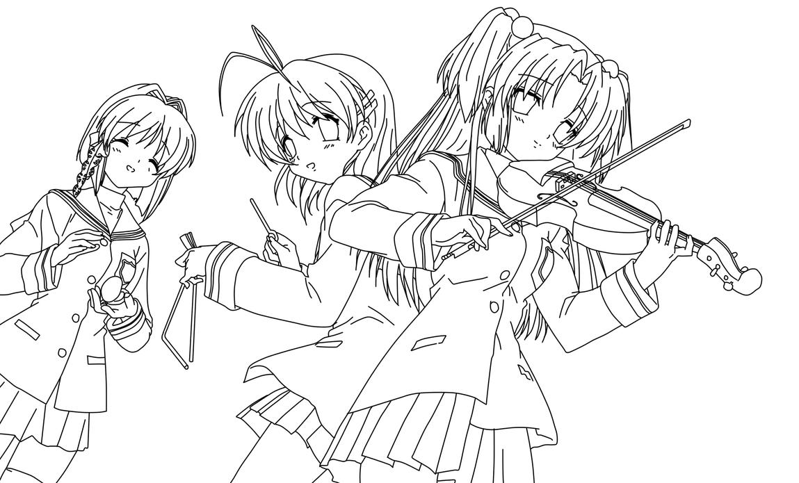 clannad coloring page by doremefasoladedo on deviantart friends coloring pages - Friends Anime Coloring Pages