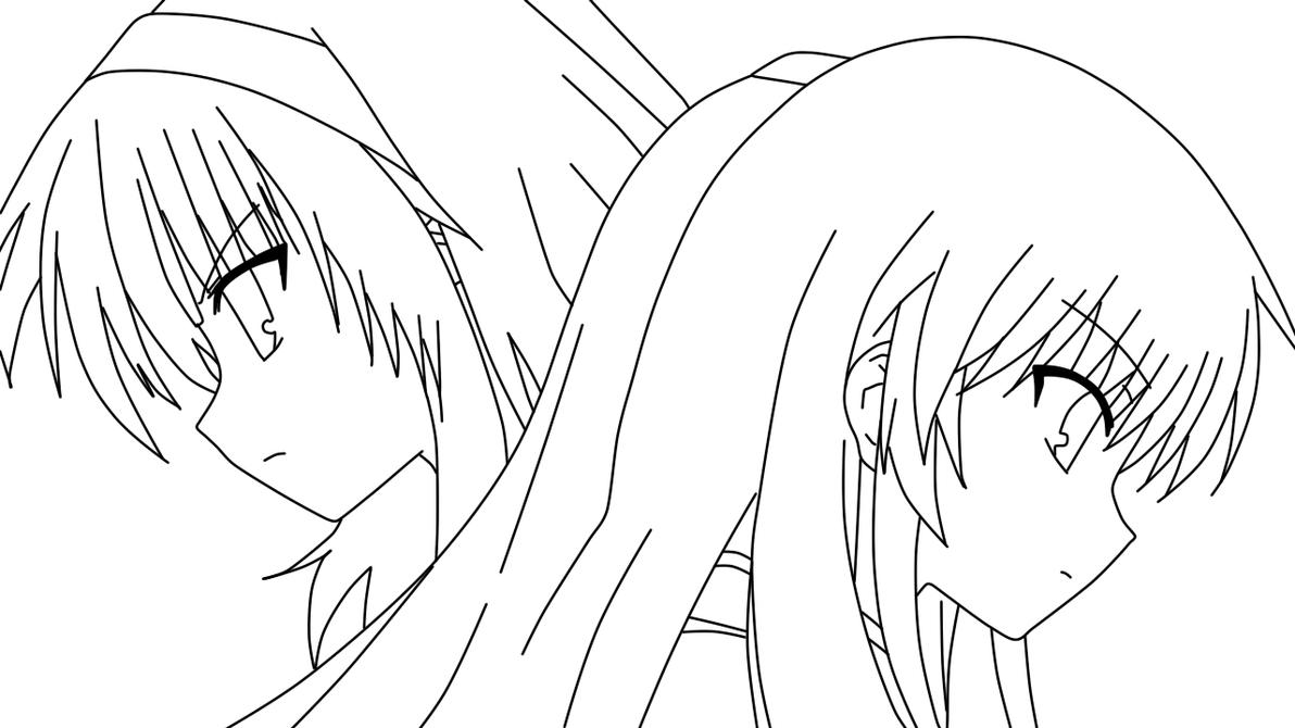 Yuri And Kanade Coloring Page By Doremefasoladedo On