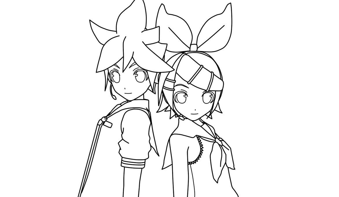 Len and Rin Kagamine Coloring Page by doremefasoladedo on DeviantArt