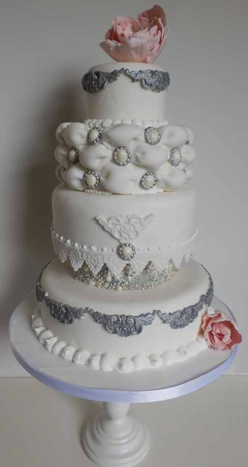 Pink And Silver Wedding Cake By CandyKnickerbocker On DeviantArt