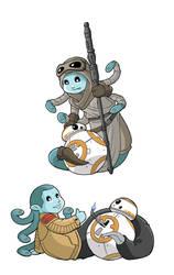 Modest Medusa as Rey and Finn by JakeRichmond