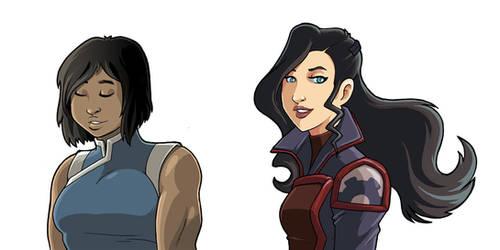 Korra and Asami by JakeRichmond