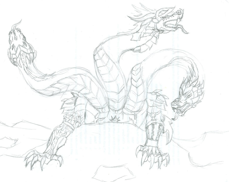 3 headed dragon coloring pages - three headed armored dragon by lerua on deviantart