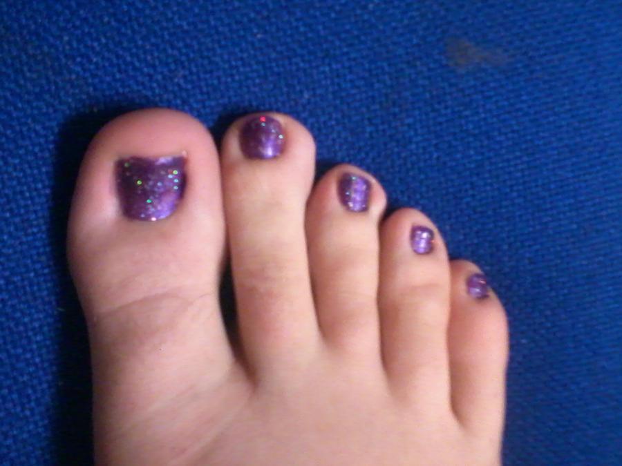Purple glitter toe nails by JinsNails on deviantART: jinsnails.deviantart.com/art/purple-glitter-toe-nails-288442707