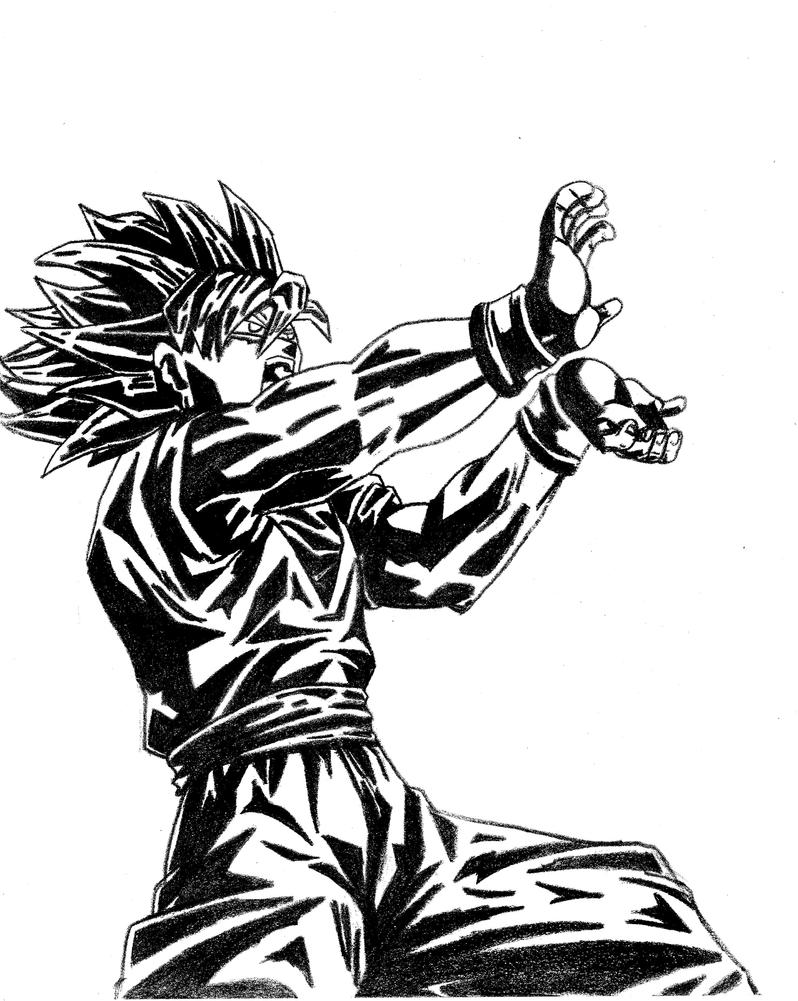 Goku Kamehameha Side Sketch Coloring Page