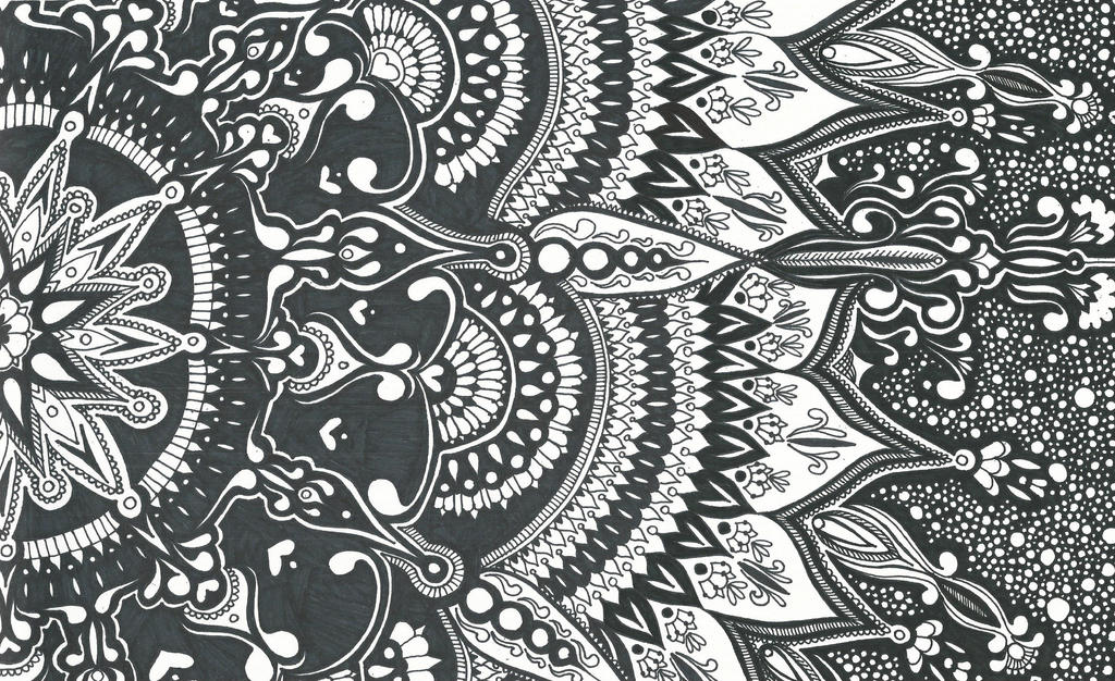 abstract zentangle pattern wallpaper design walls and murals source zentangle water lily by silentstreet13