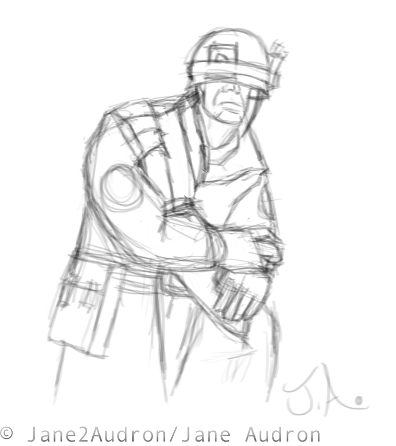 Quick TF2 Soldier Sketch by Jane2Audron