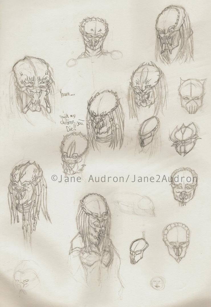 Predator Yautja Sketch Dump by Jane2Audron