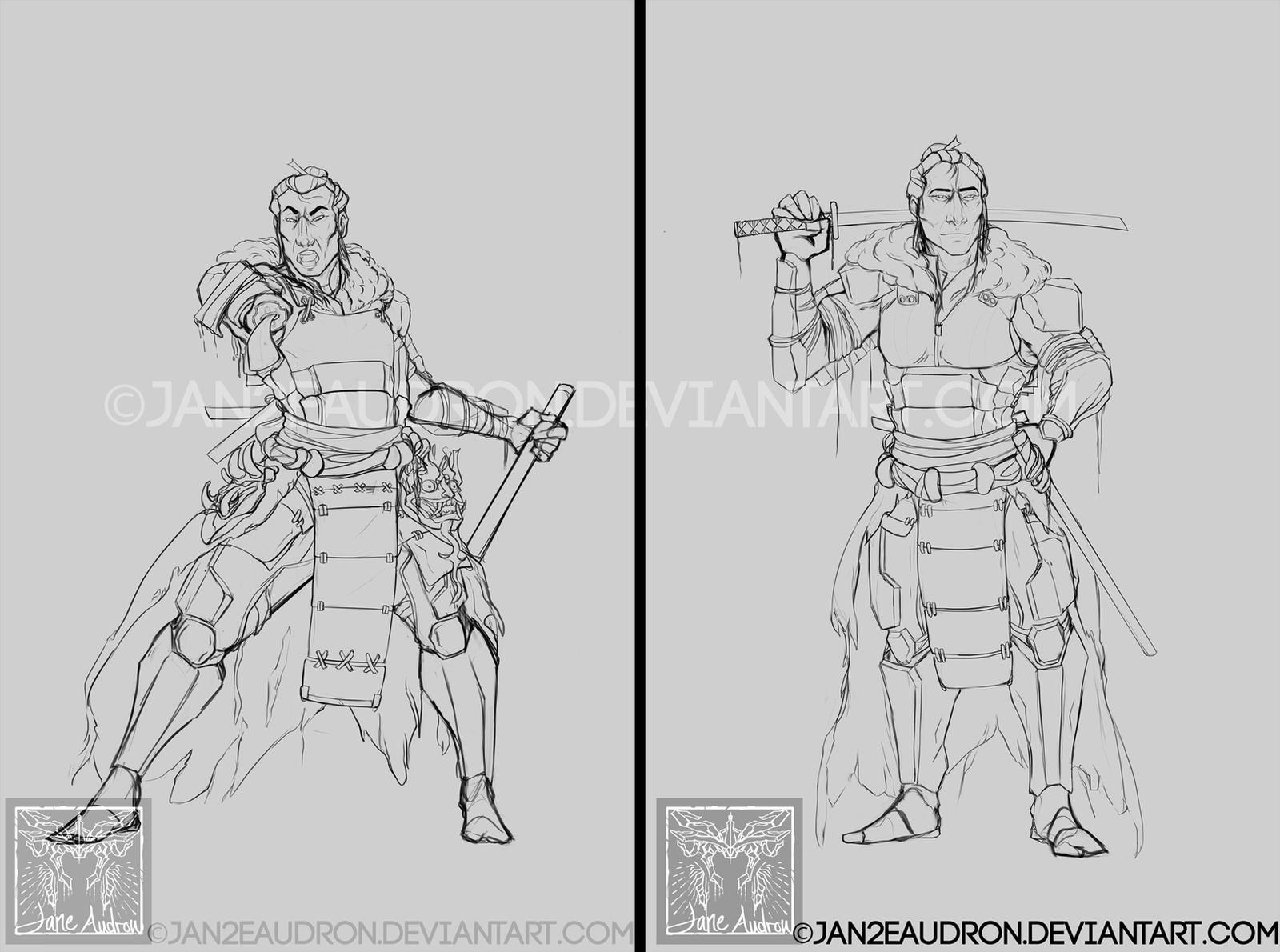Illust. Proj. 2 - XCOM Samurai Jack(Lines) by Jane2Audron