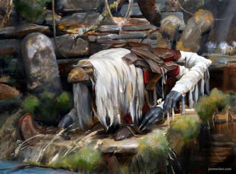 Ancient with Staff by joewardart