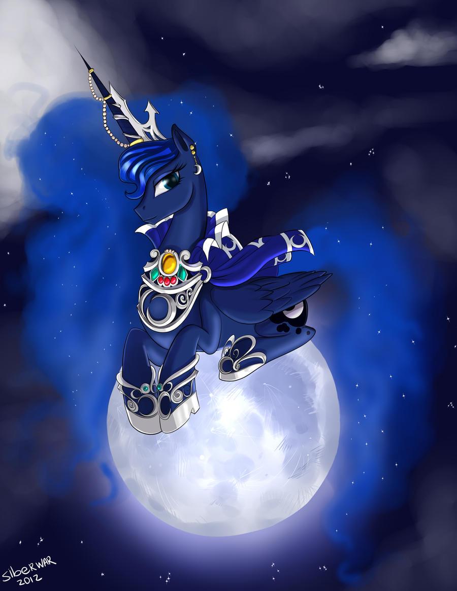 Princess Luna on the moon by Siberwar