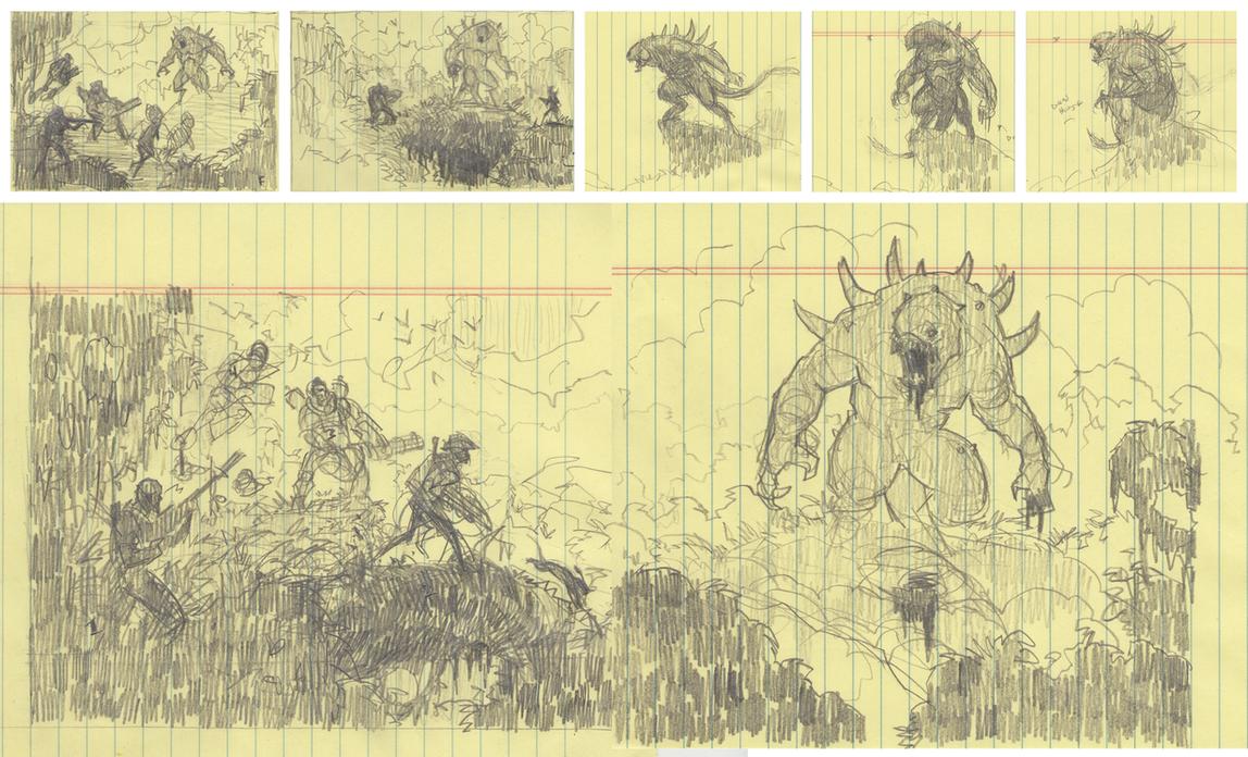 'Adversaries' Thumbnail Sketches by ScottFlanders