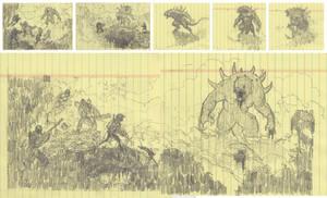 'Adversaries' Thumbnail Sketches