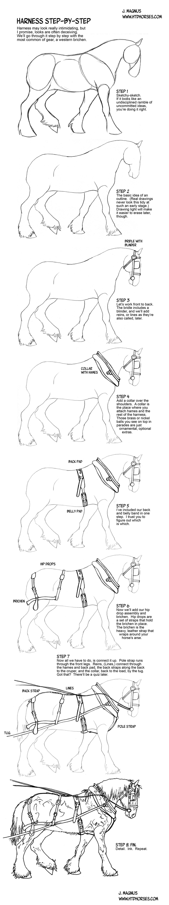 How To Draw A Horse In Harness By Sketcherjak