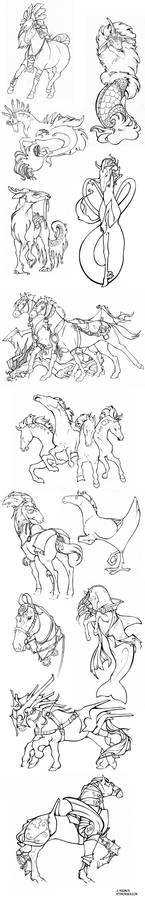 Mythical Horses Sketchdump