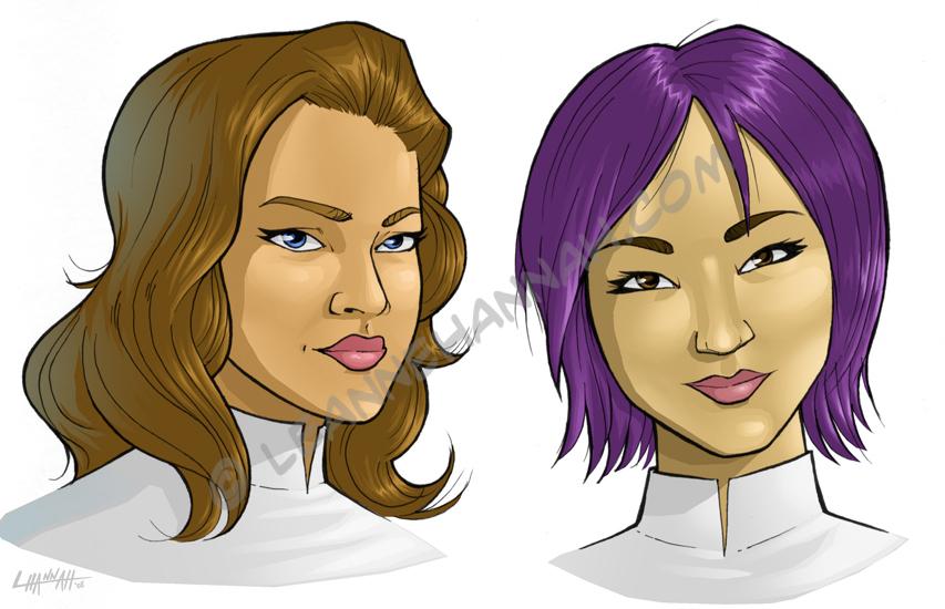 Katherine and Keiko Headshots by stratosmacca