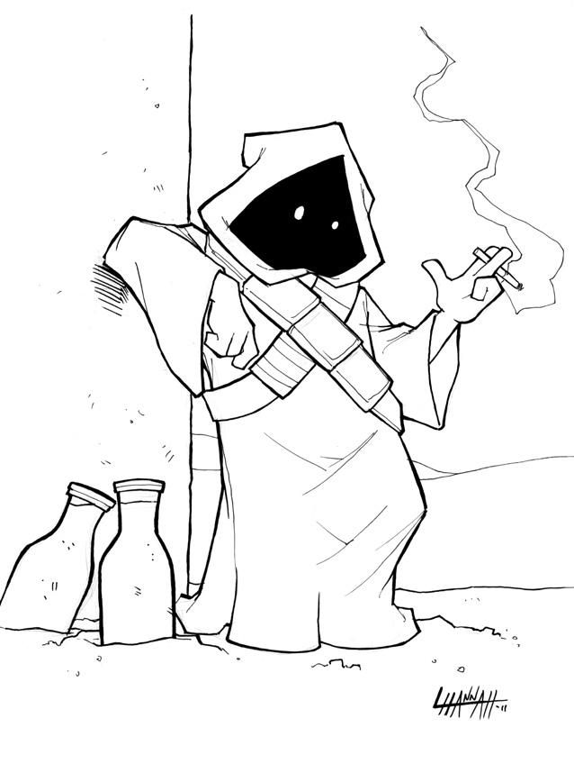 Commission: Smoking Jawa by stratosmacca