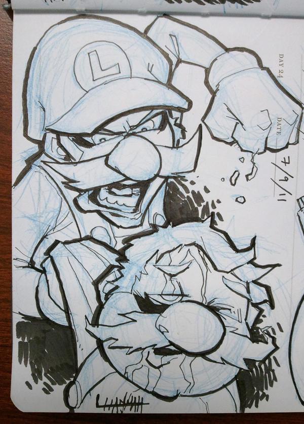 Day 24 - Luigi vs. Mario by stratosmacca
