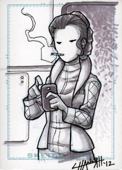 Hoth Leia Sketchcard by stratosmacca