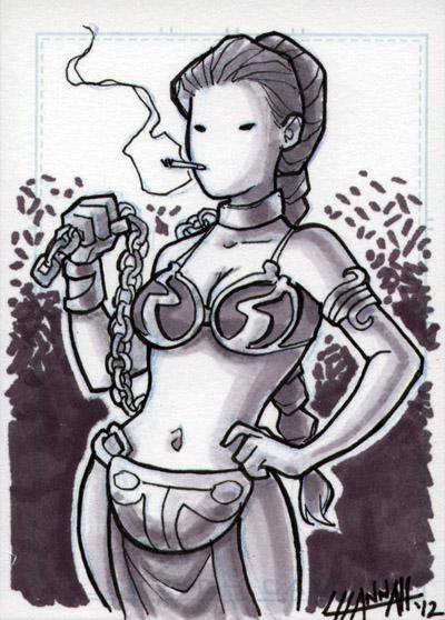 Slave Leia Sketchcard 2 by stratosmacca