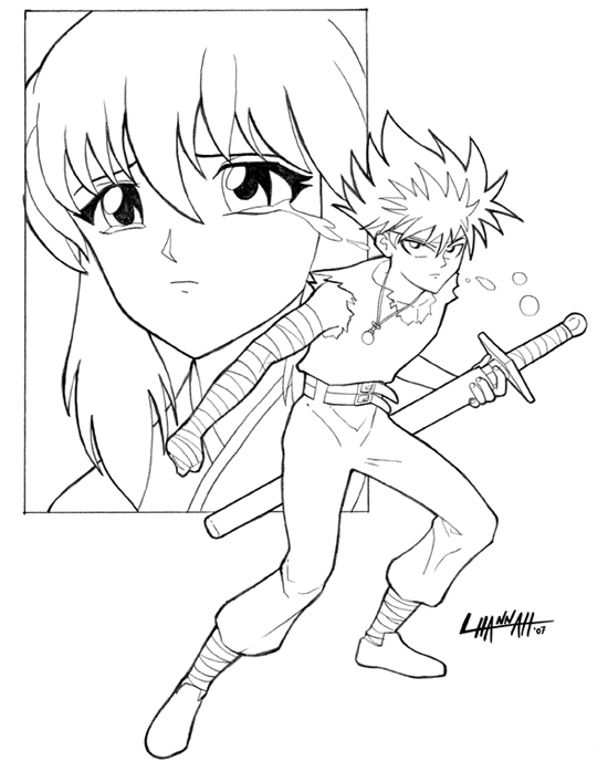 Hiei Lineart by stratosmacca