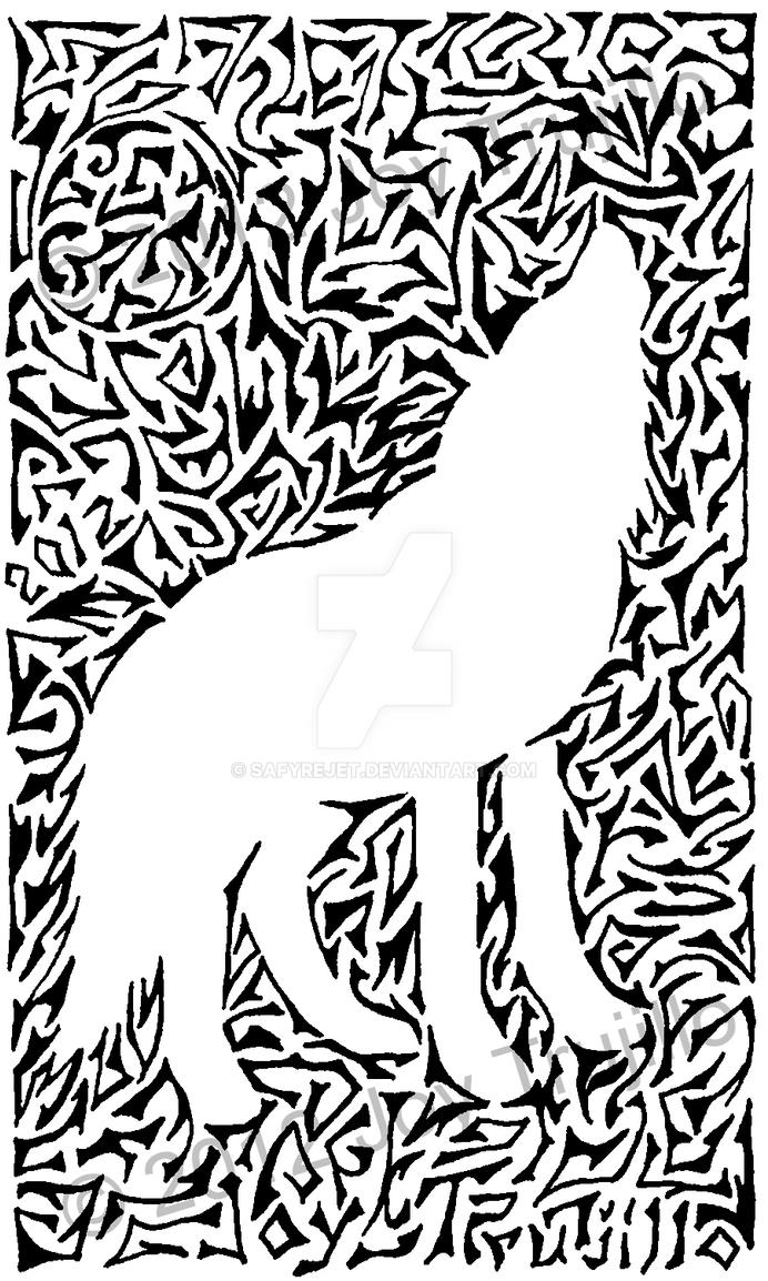 Tribal outline: Wolf by safyrejet