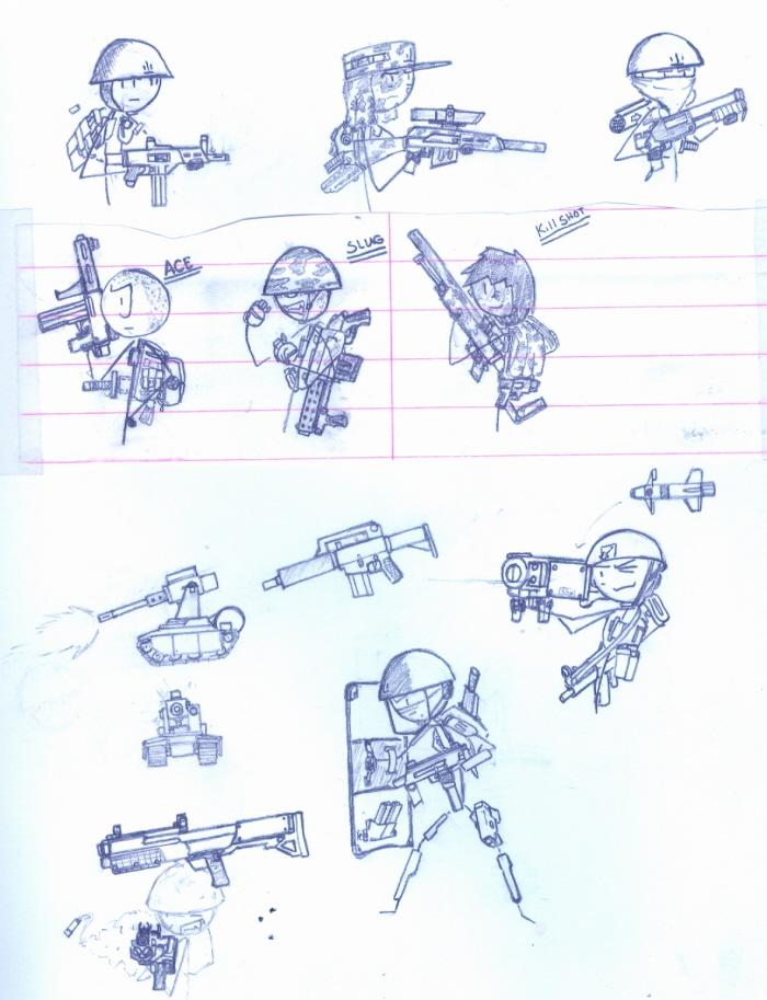 Stick soldier sketches by ferret2honey