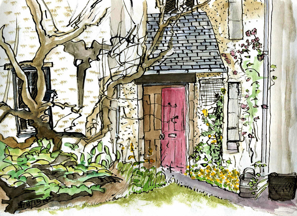 open front door illustration. Perfect Door Open Front Door Garden Path By Merearthling  On Illustration
