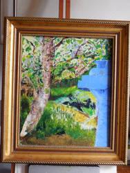 Oil Painting Wheelybin With Tree